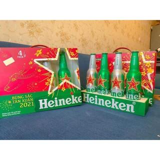 Bộ Quà Tặng 4 Chai Bia Heineken Nhôm 330ml