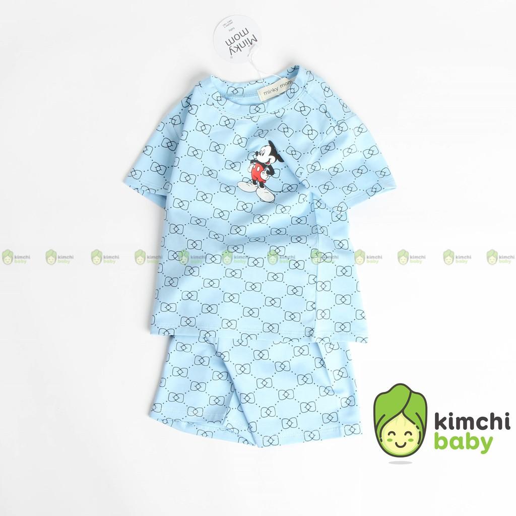 Đồ Bộ Bé Trai, Bé Gái Minky Mom Vải Cotton 100% Họa Tiết Mickey, Bộ Cộc Tay Cho Bé Mặc Nhà Mùa Hè MKM2123