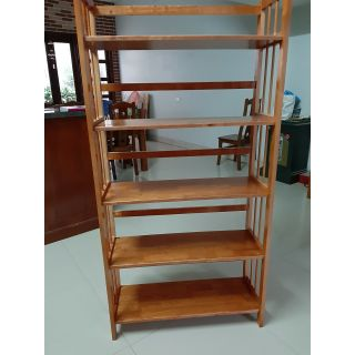 Giá sách, kệ sách đa năng 80cm 5 tầng gỗ cao su tự nhiên(màu cánh gián)