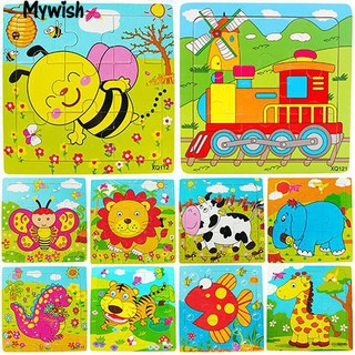 Multicolor Animals Wooden 9 Pieces Jigsaw Puzzle Toy Toddler for Kids