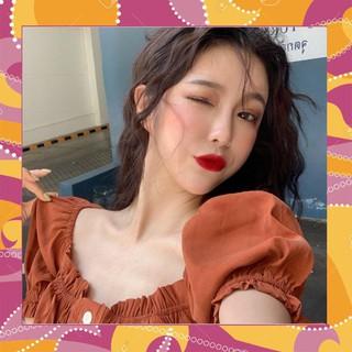 1132A10 Áo sơ mi croptop tay bồng viền bèo nhún đính nút dễ thương style Hàn Quốc