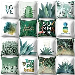 Vỏ gối vuông in hình hoa lá chim hạc sinh động trang trí giường ghế sofa thumbnail