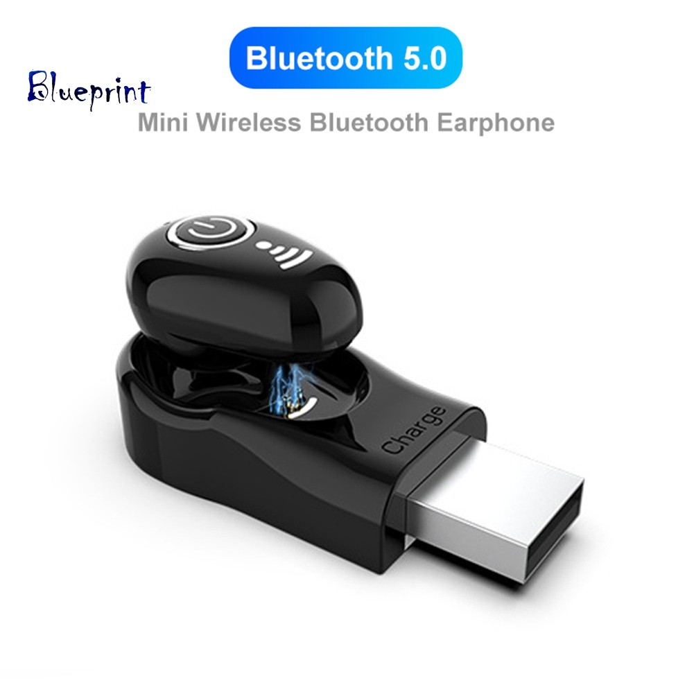 ☞BPS650 1Pc Mini Wireless Bluetooth 5.0 Earphone In-Ear Stereo Earbuds USB Charger