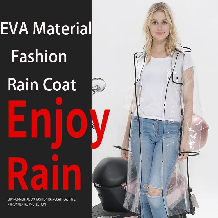 Áo mưa Fashion Women Men EVA Rain Coat Transparent Adult Raincoat Waterproof Rain Poncho Outdoor Rainwear