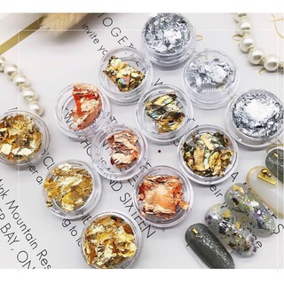 Sét giấy nhún skin nail phụ kiện ẩn, Giấy nhún vàng bạc loại đẹp giúp trang trí móng 4 màu trang 12 ô. trang trí móng ẩn thumbnail
