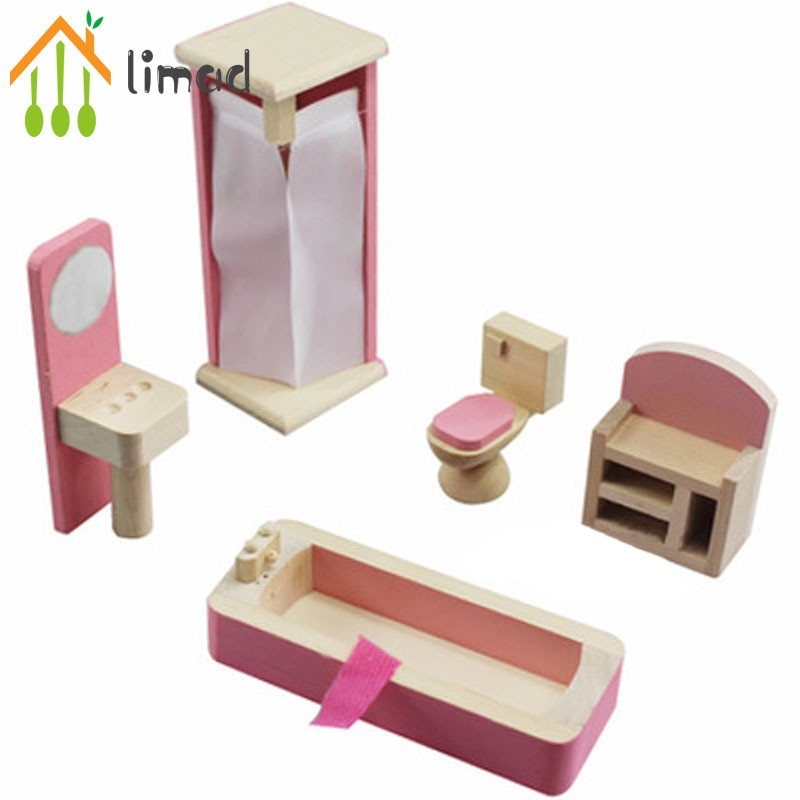 limad Wooden Miniature Dollhouse Furniture Toys Set Bedroom Kitchen Dinner Room Bathroom Living Room Pretend Play Toy For Girl