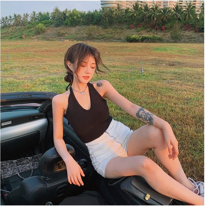 Mặc gì đẹp: Gợi cảm với  【Cocory】 Áo croptop dệt kim hai dây cổ chữ V thời trang gợi cảm cho nữ