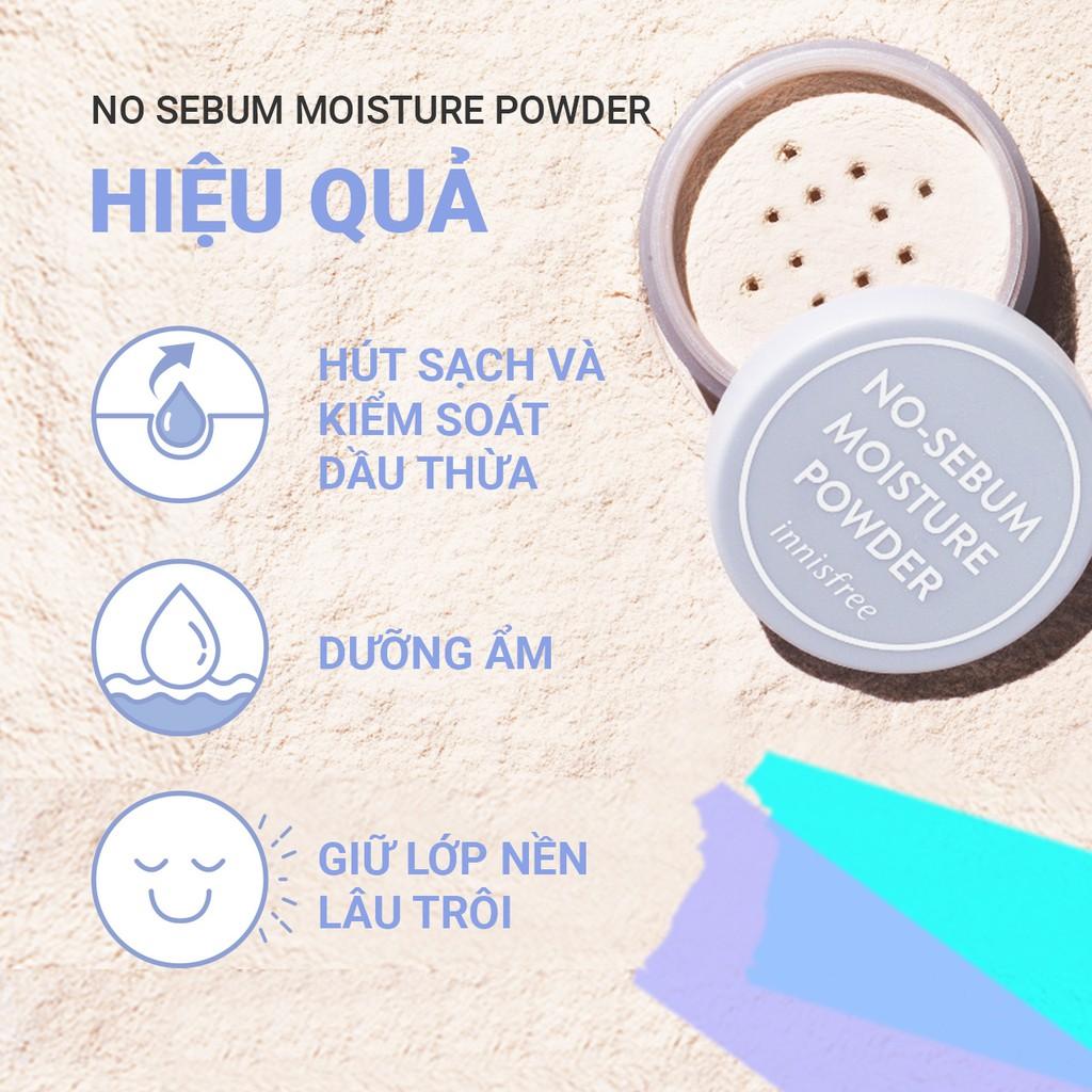 Phấn phủ kiềm dầu dưỡng ẩm dạng bột innisfree No Sebum Moisture Powder 5g