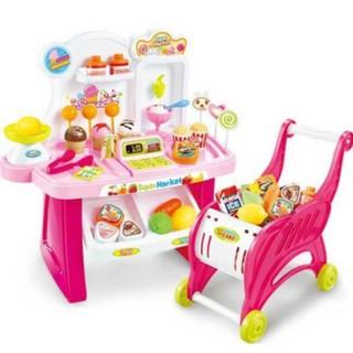 Combo quầy bán kẹo + xe đẩy siêu thị