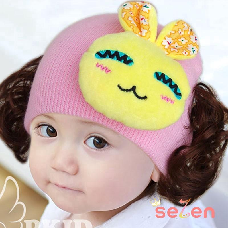 Nón len giữ ấm phối búi tóc giả xinh xắn dành cho bé gái