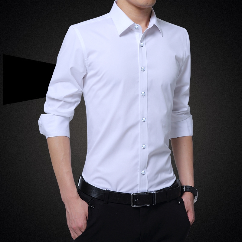 Men's Shirts♂™❏White men's long-sleeved shirt Korean version slimming business professional youth trend handsome casua