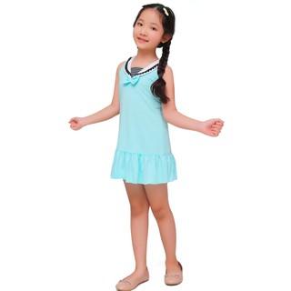 Váy hè bé gái Narsis KB0006 xanh phối thun trắng