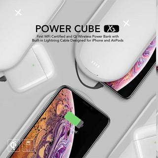 Sạc Dự Phòng Không Dây Mipow Power Cube X2 5000mAh - kèm cáp Lightning ( chuẩn MFI )
