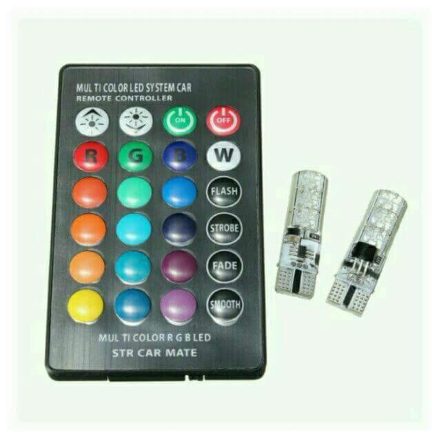 Bộ 2 đèn led demi T10 đổi màu theo remote