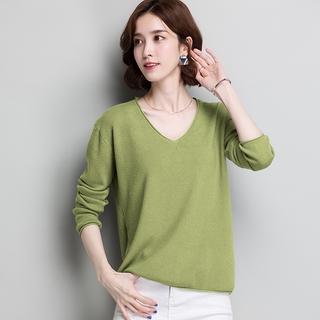 Áo Sweater Cổ Chữ V Màu Trơn Thiết Kế Đơn Giản Thanh Lịch Cho Nữ
