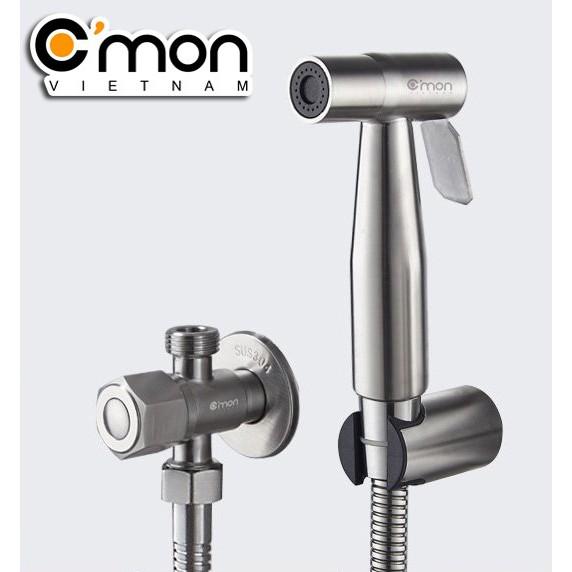 Bộ vòi xịt vệ sinh INOX 304 cao cấp C'MON VX-02-I (dây inox 304)