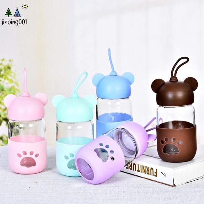 Baby Kids Portable Cute Cartoon Bear Shape Transparent Glass Cup for Outdoor