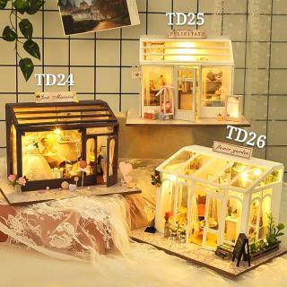 Mô hình nhà gỗ búp bê dollhouse DIY – TD24 TD25 TD26