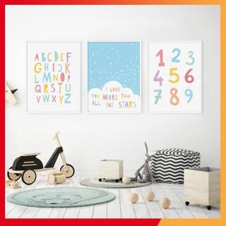 Tranh treo tường các kí tự chữ và số cho bé học tập – KHUNG 3D