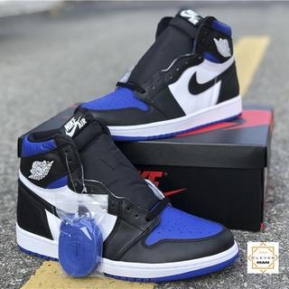(FREESHIP+FULLBOX) Giày Thể Thao Sneakers AIR Jordan 1 Retro High Royal Toe Xanh Trắng Mũi Đen Cổ Cao