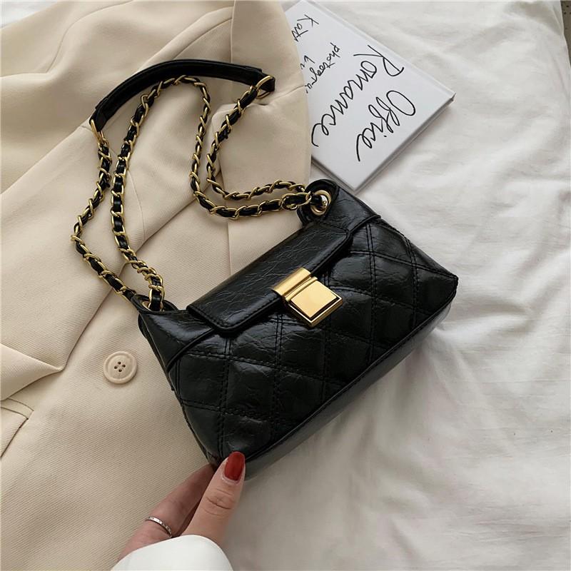 Túi đeo chéo nữ da mềm 2 ngăn dây mix xích siêu đẹp D320