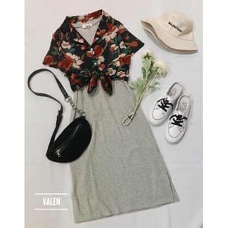 Áo hoa đi biển + váy dày 2 dây