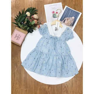 Váy Cho Bé Gái Dáng Xòe Công Chúa-Váy 2 Tầng Cổ Bẻ Xinh Xắn cho bé mùa hè