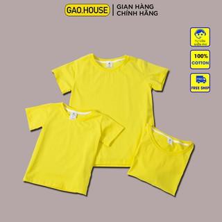 Áo gia đình Gạo House Cotton 4 chiều trơn màu vàng hoa cúc biển đi biển, du lịch, dã ngoại thumbnail