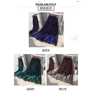 Chân Váy Lưới Dài Lưng Cao Màu Gradient Phong Cách Retro 2020 Cho Nữ
