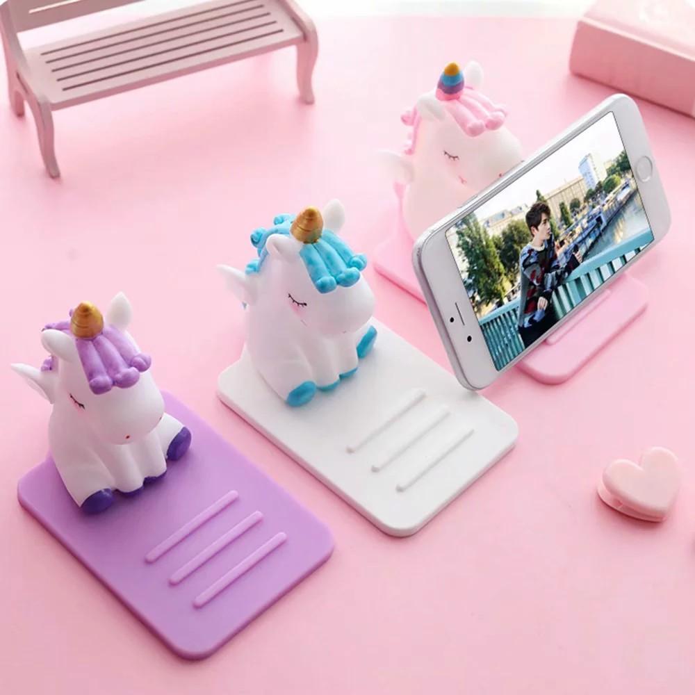 Giá đỡ điện thoại silicon hình ngựa một sừng xinh xắn