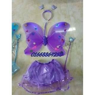 Combo 10 bộ cánh bướm thiên thần loại đẹp 6 cánh có đèn, váy, gậy, vương miện mã số SP EB9835