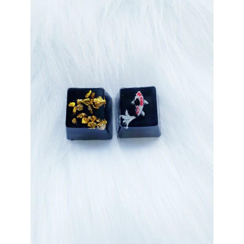 Keycap đá vàng, cá koi trang trí bàn phím gaming
