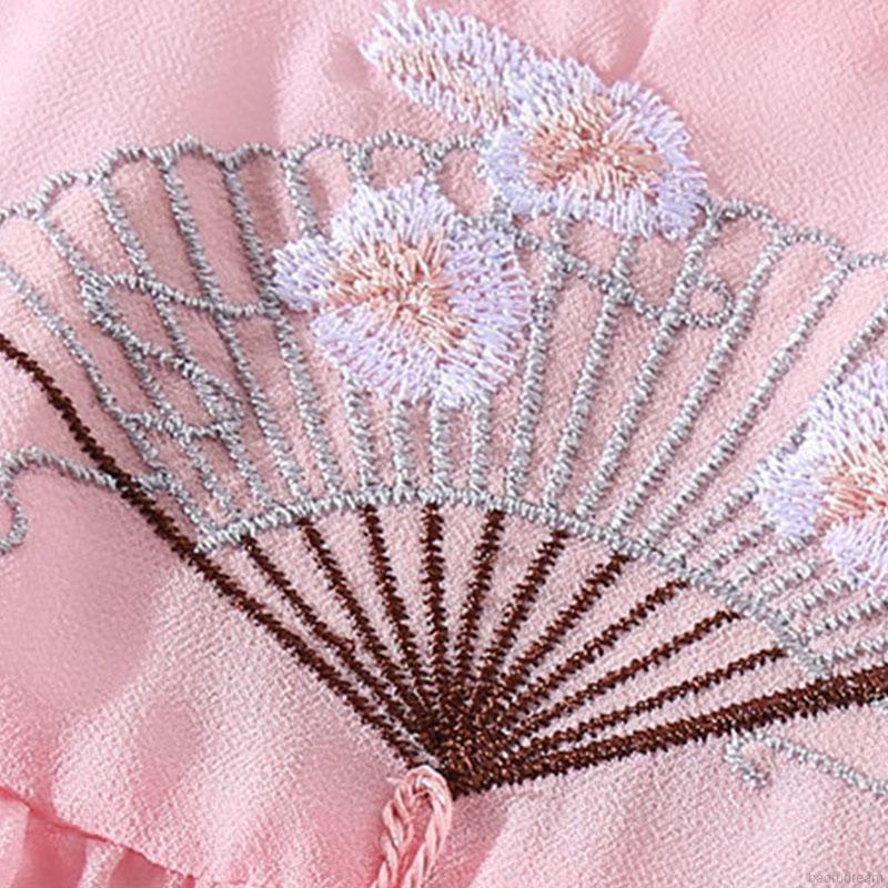 Đầm Bé Gái Tay Ngắn Thêu Hoa Phong Cách Trung Quốc 3-11 Tuổi