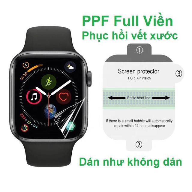 Miếng dán PPF bảo vệ mặt đồng hồ Apple Watch tự phục hồi vết xướt, tự dán dễ, hàng xuất mỹ, châu âu