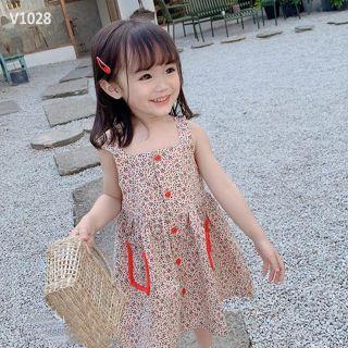 Váy bé gái👗👗👗 váy hoa 2 dây cho bé gái kiểu dáng Vintage tiểu thư👑👑👑👑 váy bé gái❤