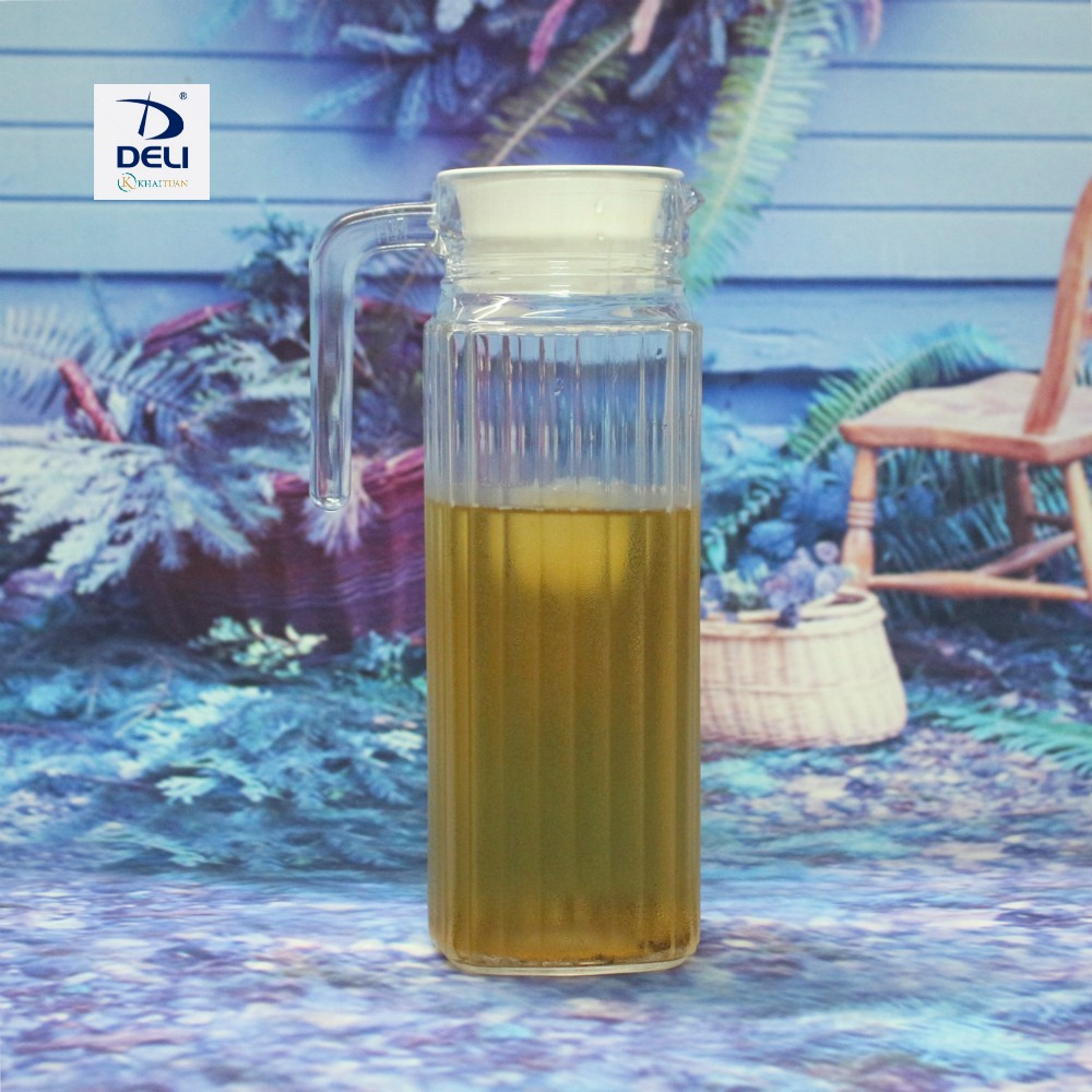 Bình Thủy Tinh Miệng Rót 1 Lít - Sọc DELI EH1004-2