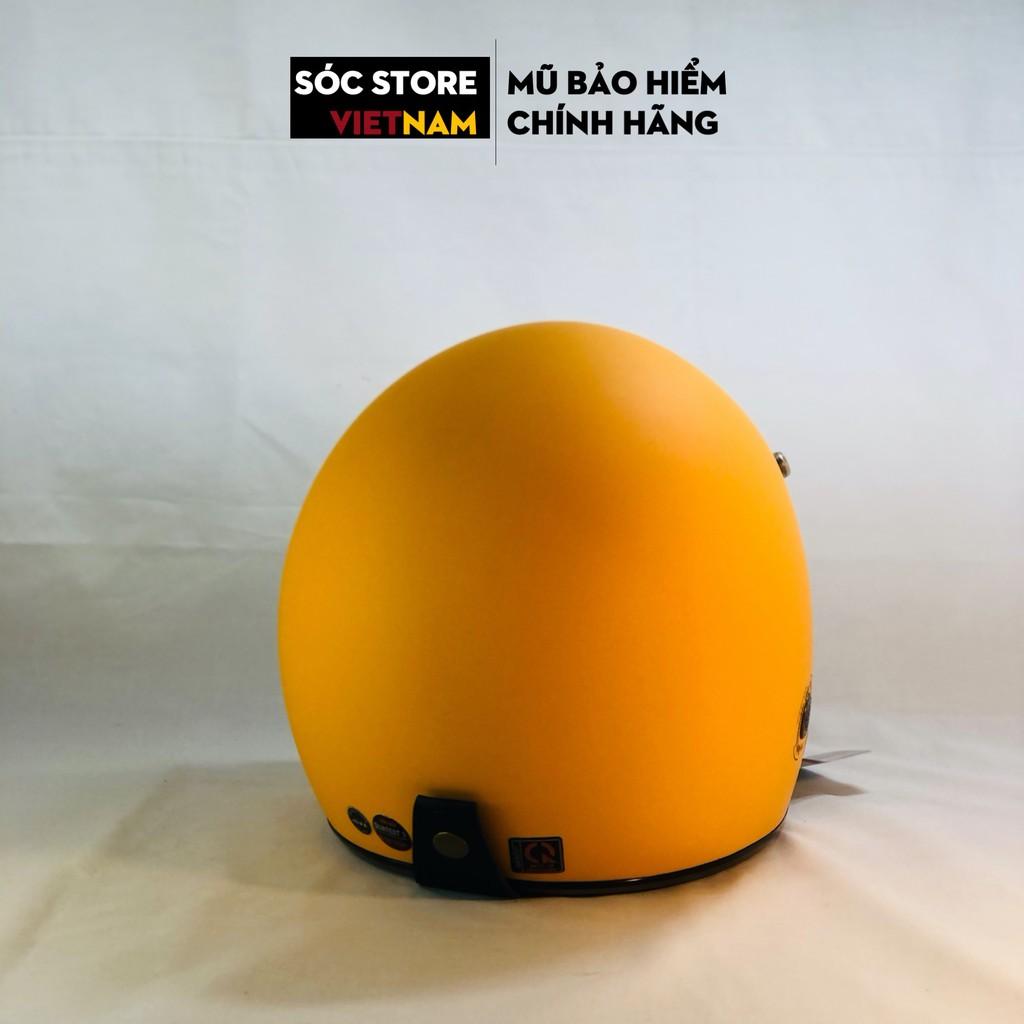 Mũ bảo hiểm 3 phần 4 chính hãng Napoli màu vàng, nón bảo hiểm 3 phần 4 nam nữ Sóc Store freesize