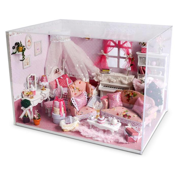 HW Miniature Wooden Princess Bedroom DIY Kit Doll House with Dreamy Bed Dressing Table Piano