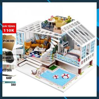 Mô hình nhà búp bê gỗ DIY Nhà búp bê Mô hình nhà lắp ghép Crete Holiday K-045 Toy World thumbnail
