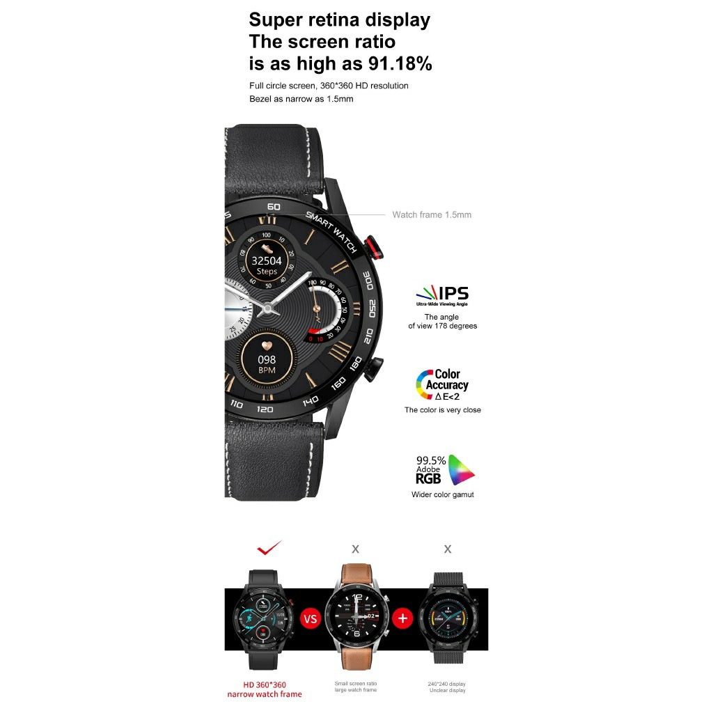 Đồng hồ thông minh DT95, Tiếng Việt, Nghe gọi trực tiếp, Màn hình siêu nét, Chống nước IP68 cực tốt
