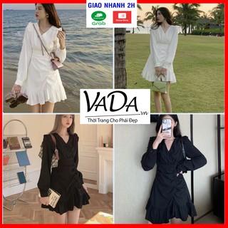 ĐẦM dự tiệc dáng suông đẹp cao cấp, phần vai và lai váy bèo nhúng xinh yêu, có 2 màu trắng đen giá rẻ VADA.vn - VD 012 thumbnail