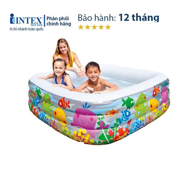 Hồ bơi phao cho bé INTEX 57471, thành bể 3 tầng bơm hơi phù hợp cho trẻ em, bảo hành 12 tháng