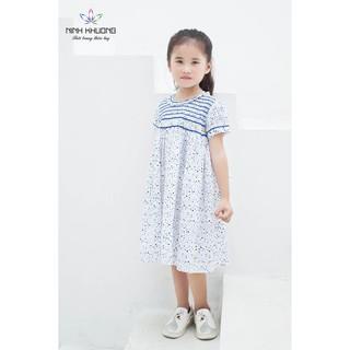 Đầm bé gái Ninh Khương - Đầm smock cổ tròn cọng viền bèo vải