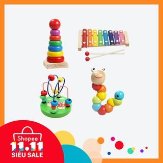 [Nhập mã TOY11FES10 giảm 10%]Set 4 đồ chơi bằng gỗ giúp phát triển trí thông minh cho các bé
