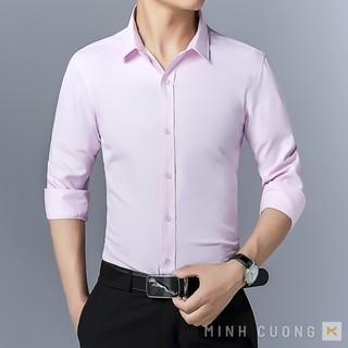Áo sơ mi nam tay dài (màu hồng nhạt) vải lụa mềm cao cấp