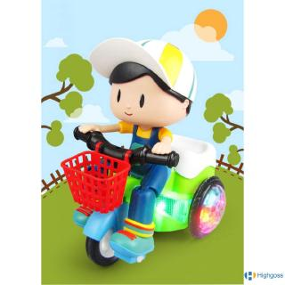 【COD】 Kids Rotate Stunt Dynamic Lighting Tricycle Model Toys for Children Music Battery Powered Car