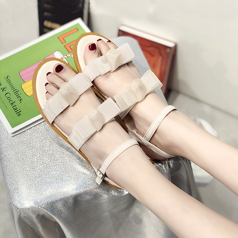 summer Korean version of the wild bow word with gentle shoes flat sandals women