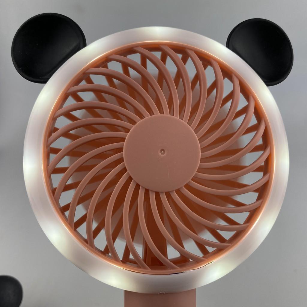 Quạt cầm tay mini để bàn sạc pin tích điện nhỏ gọn có đèn led hình gấu dễ thương
