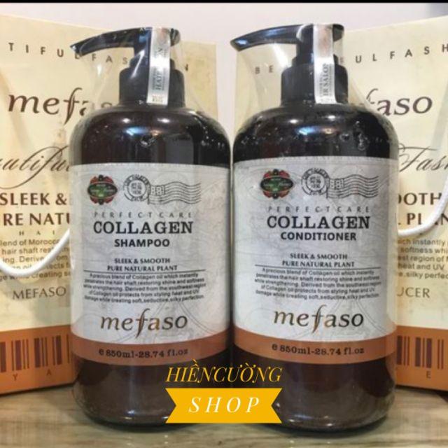 (FREESHIP 40K) Bộ Dầu Gội Xả Collagen Mefaso 850ml ×2