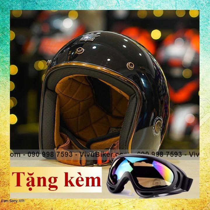 COMBO mũ bảo hiểm 3/4 Royal m20c đen nhám lót rời tặng kèm kính UV cao cấp - Nón bảo hiểm Royal Ruby lót rời